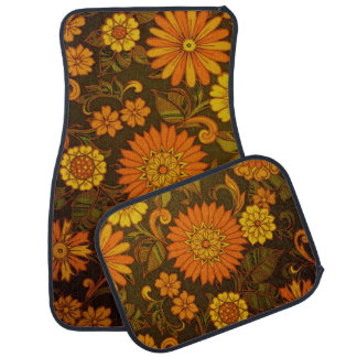 Daisy Orange Art Deco Floor Mat