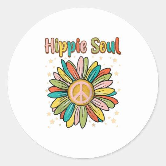 Daisy Peace Sign Hippie Soul Cute Daisy Classic Round