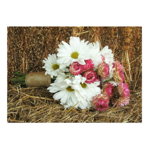 Daisy & Pink Bouquet & Hay Country Wedding Invite