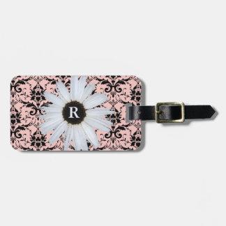 Daisy Pink Monogrammed   Elegant Damask Pattern Luggage Tag