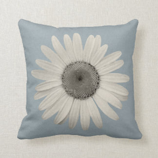 Daisy Pop of Color Blue Grey Cushion