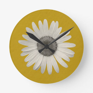 Daisy Pop of Color Mustard Yellow Round Clock