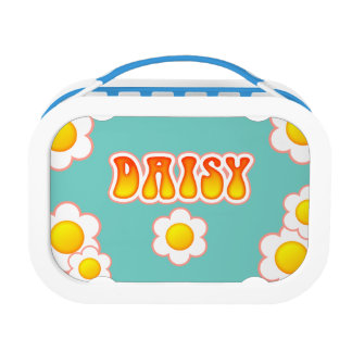 Daisy Pretty 70s Retro Flower Design Lunch Boxes