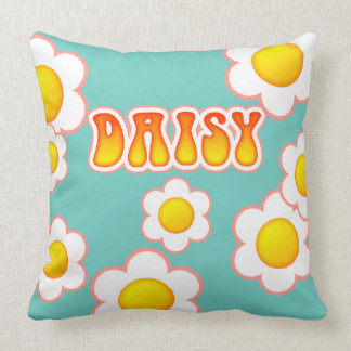 Daisy Pretty 70s Retro Flower Design Throw Pillow