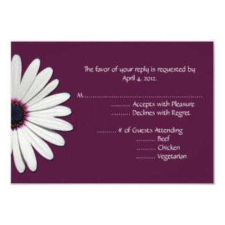 Daisy Purple Reply Cards with Menu Options 9 Cm X 13 Cm Invitation Card