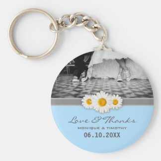 Daisy Ribbon - Blue Gray & White Love and Thanks Basic Round Button Keychain