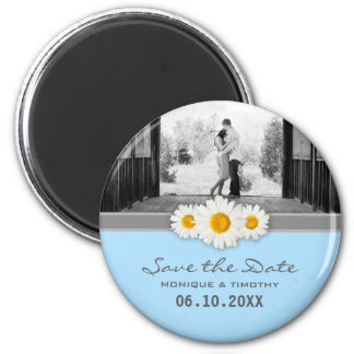 Daisy Ribbon - Blue Gray & White Save the Date 6 Cm Round Magnet