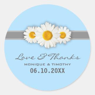 Daisy Ribbon - Blue Gray & White Thank You Round Sticker
