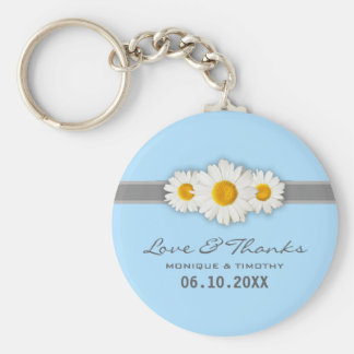 Daisy Ribbon - Blue Grey & White Love and Thanks Basic Round Button Key Ring