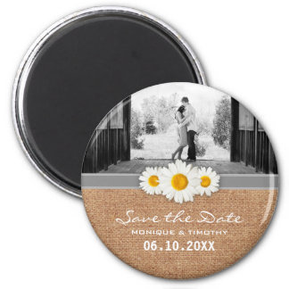 Daisy Ribbon - Burlap Gray & White Save the Date 6 Cm Round Magnet