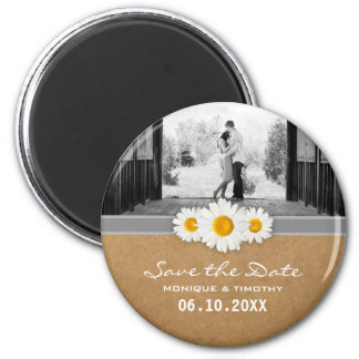 Daisy Ribbon Rustic Faux Paper Save the Date 6 Cm Round Magnet