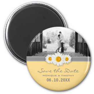 Daisy Ribbon - Yellow Gray & White Save the Date 6 Cm Round Magnet