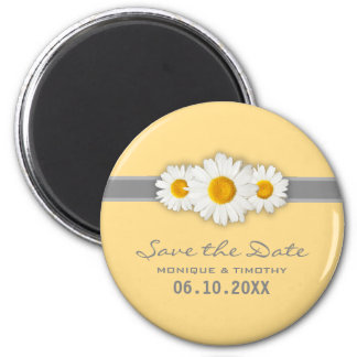 Daisy Ribbon - Yellow Gray & White Save the Date Magnet