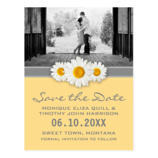 Daisy Ribbon - Yellow Gray & White Save the Date Postcard