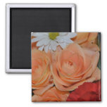 Daisy Roses Flowers Peace Faith Smile Love Juanita Square Magnet