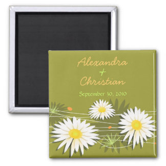 Daisy Save The Date Wedding Announcement 3 Square Magnet