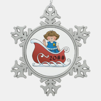 Daisy Scout Sled Brunette Snowflake Pewter Christmas Ornament