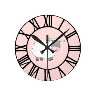 Daisy Sheep Round Clock