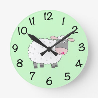 Daisy Sheep Round Clock