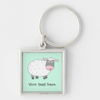 Daisy Sheep Silver-Colored Square Key Ring