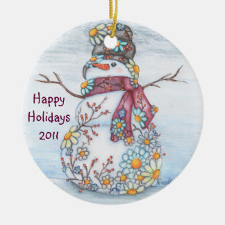Daisy Snowman Christmas Ornament