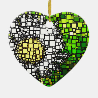 Daisy Squares Ceramic Heart Decoration