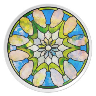 Daisy Stained Glass Nouveau Party Plate