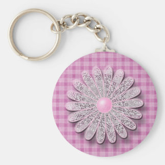 Daisy Tassel Matching Set Basic Round Button Key Ring