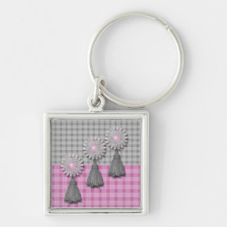 Daisy Tassel Matching Set Silver-Colored Square Key Ring