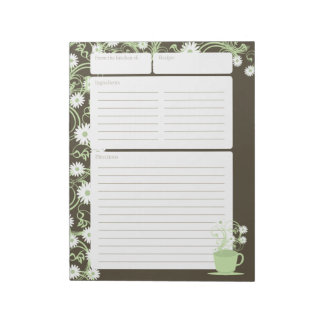 Daisy Tea Party Green Floral Recipe Pages Notepad