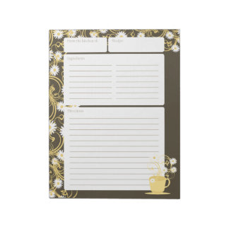 Daisy Tea Party Yellow Floral Recipe Pages Notepad