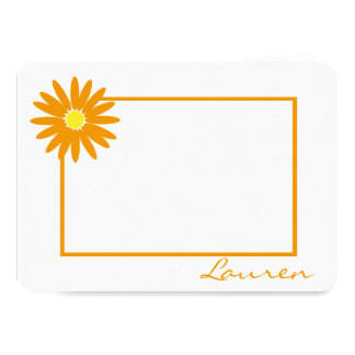 Daisy Thank You Orange Flat Note Card