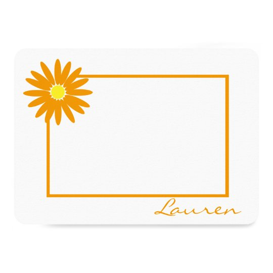Daisy Thank You Orange Flat Note Card