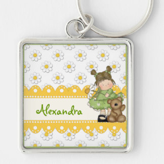 Daisy Toddler and Teddy Silver-Colored Square Key Ring