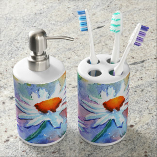 Daisy Toothbrush Holder and Soap Dispenser Set