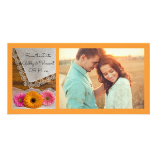 Daisy Trio and Lace Country Wedding Save the Date Custom Photo Card
