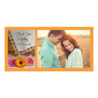 Daisy Trio and Lace Wedding Thank You Photo Card