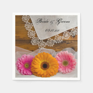 Daisy Trio and Vintage Lace Country Wedding Disposable Napkins