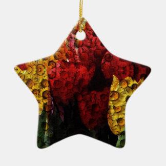 Daisy Tulip Collage Ceramic Star Decoration