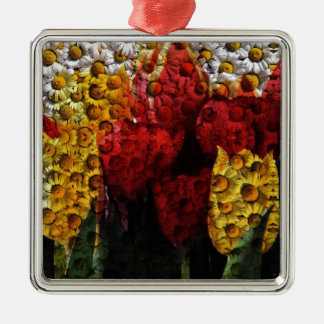 Daisy Tulip Collage Christmas Ornament