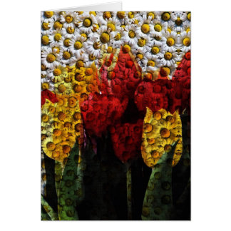 Daisy Tulip Collage Greeting Card