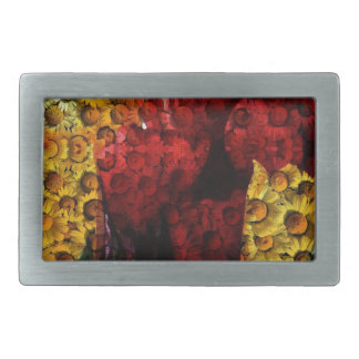 Daisy Tulip Collage Rectangular Belt Buckle