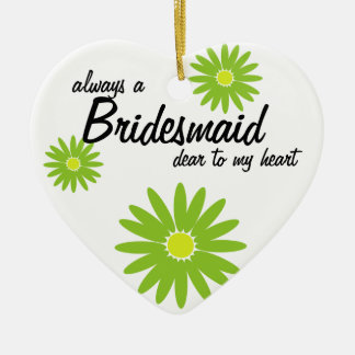 Daisy Wedding Bridesmaid Ceramic Heart Decoration