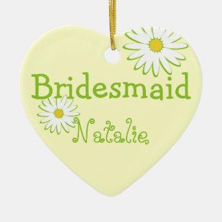Daisy Wedding Bridesmaid Ceramic Heart Decoration