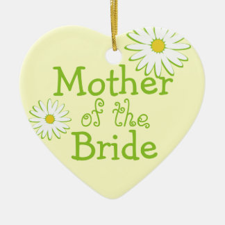Daisy Wedding Mother of the Bride Ceramic Heart Decoration