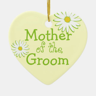 Daisy Wedding Mother of the Groom Ceramic Heart Decoration