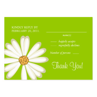 Daisy Wedding Response Cards White lime green Business Card