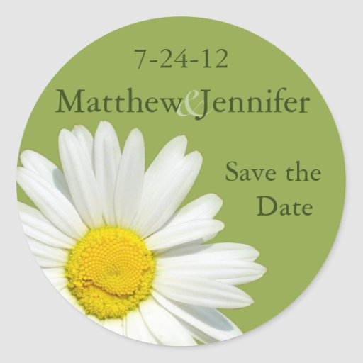 Daisy Wedding Save the Date Announcement Sticker Round Stickers