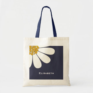 Daisy-white floral desing personalize name tote bag