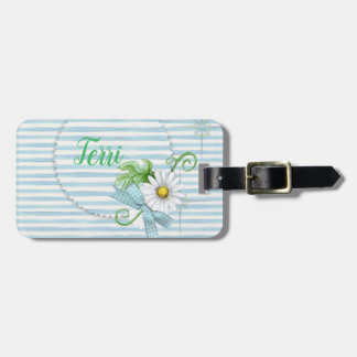 Daisy with Blue Stripes Luggage Tag